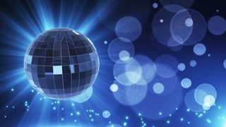 Spinning Disco Ball Party Themed Funky Fun Loopable Motion Background With Glowing Particles and Bokeh Blue