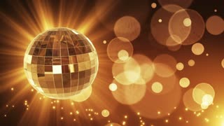 Spinning Disco Ball Party Themed Funky Fun Loopable Motion Background With Glowing Particles and Bokeh Gold Golden Brown Champagne Yellow Orange