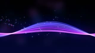 Elegant Colorful Smooth Strip of Strings and Curved Light Beams with Floating Particles Blue