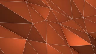 Elegant Polygonal Surface | Triangular Polygons with Outlines | Low Poly Waves on a Plane Surface | Seamless Loop | Motion Background | Full HD 1920 1080 | Copper Brown Orange