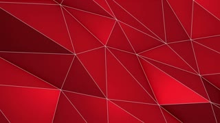 Elegant Polygonal Surface | Triangular Polygons with Outlines | Low Poly Waves on a Plane Surface | Seamless Loop | Motion Background | Full HD 1920 1080 Deep Dark Red Maroon