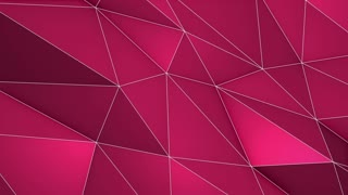 Elegant Polygonal Surface | Triangular Polygons with Outlines | Low Poly Waves on a Plane Surface | Seamless Loop | Motion Background | Full HD 1920 1080 Pink Magenta