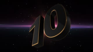 Epic Energetic Top 10 Countdown Numbers List with Flashing Electric Beams in the Motion Background Dark Black Backdrop