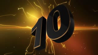 Epic Energetic Top 10 Countdown Numbers List with Flashing Electric Beams in the Motion Background Orange Yellow Golden Brown