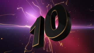 Epic Energetic Top 10 Countdown Numbers List with Flashing Electric Beams in the Motion Background Pink Purple