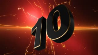 Epic Energetic Top 10 Countdown Numbers List with Flashing Electric Beams in the Motion Background Red Maroon