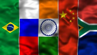 Flags of BRICS Countries Brazil Russia India China South Africa Emerging Economies B.R.I.C.S. New Development Bank Seamless Looping Motion Background Animation