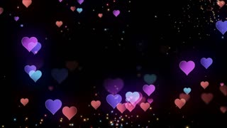 Floating Little Hearts Glowing Twinkling Sparkling Particles | Seamless Motion Background | Full HD 1920 X 1080 | Colorful Over Black Backdrop