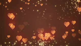 Floating Little Hearts Glowing Twinkling Sparkling Particles | Seamless Motion Background | Full HD 1920 X 1080 | Gold Golden Orange Over Brown Backdrop