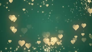 Floating Little Hearts Glowing Twinkling Sparkling Particles | Seamless Motion Background | Full HD 1920 X 1080 | Gold Golden Over Green Backdrop
