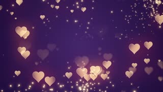 Floating Little Hearts Glowing Twinkling Sparkling Particles | Seamless Motion Background | Full HD 1920 X 1080 | Gold Golden Over Purple Backdrop
