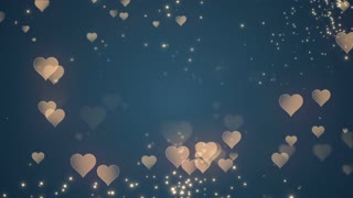 Floating Little Hearts Glowing Twinkling Sparkling Particles | Seamless Motion Background | Full HD 1920 X 1080 | Gold Golden Over Teal Blue Backdrop