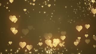 Floating Little Hearts Glowing Twinkling Sparkling Particles | Seamless Motion Background | Full HD 1920 X 1080 | Gold Golden Yellow