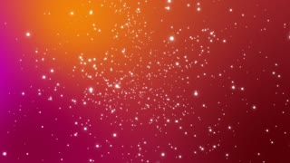 Fly through with Stars Orbs of Light Colorful 3D Space Seamless Loop Orange Pink Magenta Red Maroon