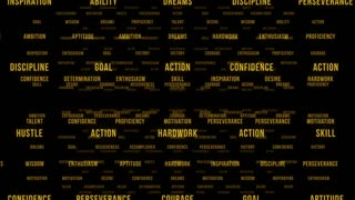 Flying Through Text Phrases Terms and Words   Seamless Looping Animated Motion Video Background   Motivation Inspirational Success Perseverance Determination Hardwork   Version 2   Yellow Orange Gold Golden Brown