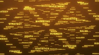Flying Through Text Phrases Terms and Words | Seamless Looping Animated Motion Video Background | Finance Business Investment Marketing Strategy Corporate | Version 3 | Orange Gold Golden Brown Yellow