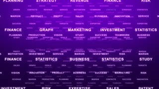Flying Through Text Phrases Terms and Words | Seamless Looping Animated Motion Video Background | Finance Business Investment Marketing Strategy Corporate | Version 1 | Purple Violet Indigo Magenta