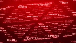 Flying Through Text Phrases Terms and Words | Seamless Looping Animated Motion Video Background | Finance Business Investment Marketing Strategy Corporate | Version 3 | Red