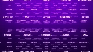 Flying Through Text Phrases Terms and Words | Seamless Looping Animated Motion Video Background | Motivation Inspirational Success Perseverance Determination Hardwork | Version 1 | Purple Violet Indigo Magenta