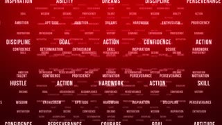 Flying Through Text Phrases Terms and Words | Seamless Looping Animated Motion Video Background | Motivation Inspirational Success Perseverance Determination Hardwork | Version 1 | Red