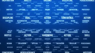 Flying Through Text Phrases Terms and Words | Seamless Looping Animated Motion Video Background | Motivation Inspirational Success Perseverance Determination Hardwork | Version 1 | Blue