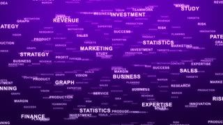 Flying Through Text Phrases Terms and Words | Seamless Looping Animated Motion Video Background | Finance Business Investment Marketing Strategy Corporate | Version 3 | Purple Violet Indigo Magenta
