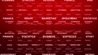 Flying Through Text Phrases Terms and Words | Seamless Looping Animated Motion Video Background | Finance Business Investment Marketing Strategy Corporate | Version 1 | Red