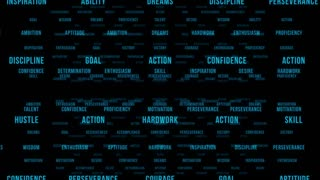 Flying Through Text Phrases Terms and Words | Seamless Looping Animated Motion Video Background | Motivation Inspirational Success Perseverance Determination Hardwork | Version 2 | Blue