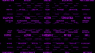 Flying Through Text Phrases Terms and Words | Seamless Looping Animated Motion Video Background | Motivation Inspirational Success Perseverance Determination Hardwork | Version 2 | Purple Violet Indigo Magenta