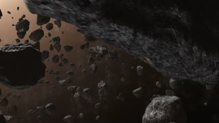 Flying Through a Field of Asteroids Dense Asteroid Belt Fly By Brown 01