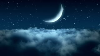 Flying Through Dense Clouds at Night with Beautiful Crescent Moon and Twinkling Stars in The Background | Seamless Looping | Motion Backdrop | Full HD 1920 X 1080 | Blue