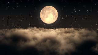 Flying Through Dense Clouds at Night with Beautiful Full Moon and Twinkling Stars in The Background | Seamless Looping | Motion Backdrop | Full HD 1920 X 1080 | Amber Brown Orange Sepia