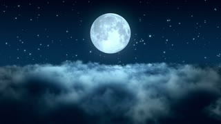 Flying Through Dense Clouds at Night with Beautiful Full Moon and Twinkling Stars in The Background | Seamless Looping | Motion Backdrop | Full HD 1920 X 1080 |  Blue
