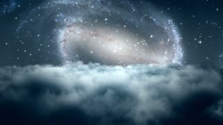 Flying Through Dense Clouds at Night with Beautiful View of Andromeda or another Spiral Galaxy and Twinkling Stars in The Background | Seamless Looping | Motion Backdrop | Full HD 1920 X 1080 |