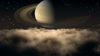 Flying Through Dense Clouds at Night with Beautiful View of Saturn and Twinkling Stars in The Background | Seamless Looping | Motion Backdrop | Full HD 1920 X 1080 | Amber Brown Orange Sepia