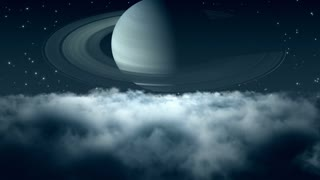 Flying Through Dense Clouds at Night with Beautiful View of Saturn and Twinkling Stars in The Background | Seamless Looping | Motion Backdrop | Full HD 1920 X 1080 |