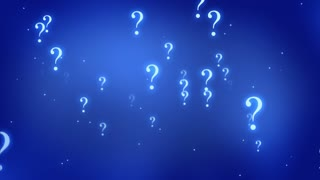 Flying through Floating and Glowing Question Marks Seamless Looping Motion Background Blue Cyan
