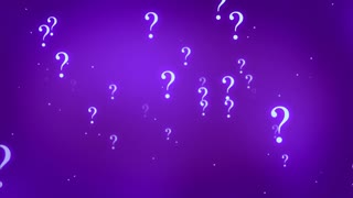 Flying through Floating and Glowing Question Marks Seamless Looping Motion Background Purple Violet Indigo