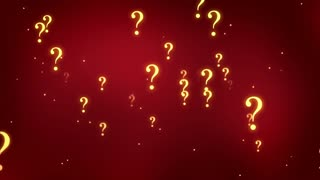 Flying through Floating and Glowing Question Marks Seamless Looping Motion Background Red Maroon Golden