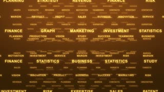 Flying Through Text Phrases Terms and Words | Seamless Looping Animated Motion Video Background | Finance Business Investment Marketing Strategy Corporate | Version 1 | Orange Gold Golden Brown Yellow