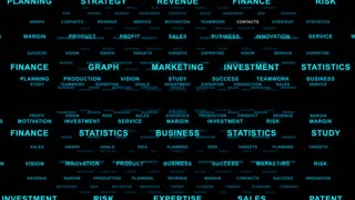 Flying Through Text Phrases Terms and Words | Seamless Looping Animated Motion Video Background | Finance Business Investment Marketing Strategy Corporate | Version 2 | Blue
