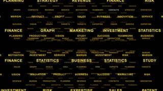 Flying Through Text Phrases Terms and Words | Seamless Looping Animated Motion Video Background | Finance Business Investment Marketing Strategy Corporate | Version 2 | Orange Gold Golden Brown Yellow