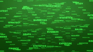 Flying Through Text Phrases Terms and Words | Seamless Looping Animated Motion Video Background | Finance Business Investment Marketing Strategy Corporate | Version 3 | Green