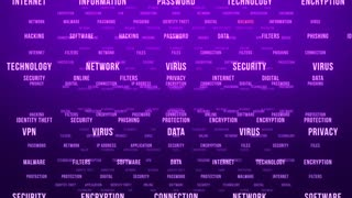 Flying Through Text Phrases Terms and Words | Seamless Looping Animated Motion Video Background | Internet Security Encryption Cloud Data Network Virus | Version 1 | Purple Violet Indigo Magenta