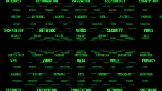 Flying Through Text Phrases Terms and Words | Seamless Looping Animated Motion Video Background | Internet Security Encryption Cloud Data Network Virus | Version 2 | Green
