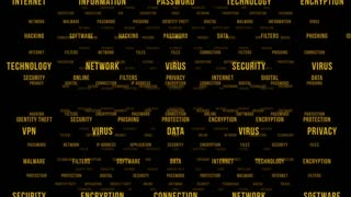Flying Through Text Phrases Terms and Words | Seamless Looping Animated Motion Video Background | Internet Security Encryption Cloud Data Network Virus | Version 2 | Yellow Orange Gold Golden Brown