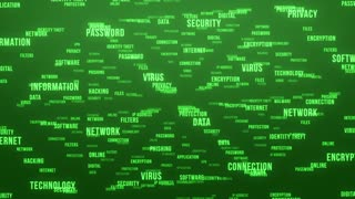 Flying Through Text Phrases Terms and Words | Seamless Looping Animated Motion Video Background | Internet Security Encryption Cloud Data Network Virus | Version 3 | Green