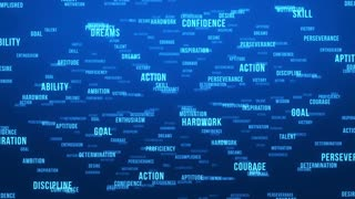 Flying Through Text Phrases Terms and Words | Seamless Looping Animated Motion Video Background | Motivation Inspirational Success Perseverance Determination Hardwork | Version 3 | Blue