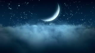 Flying Through Thin Clouds at Night with Beautiful Crescent Moon and in The Background | Seamless Looping | Motion Backdrop | Full HD 1920 X 1080 | Blue