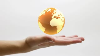 Glass Globe Spinning and Floating over a Still Hand | Golden Orange Yellow Version | DCI 4K Ultra HD 4096x2304 and Full HD 1920x1080